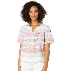 Joules Pastel Striped Roxie Linen Blouse